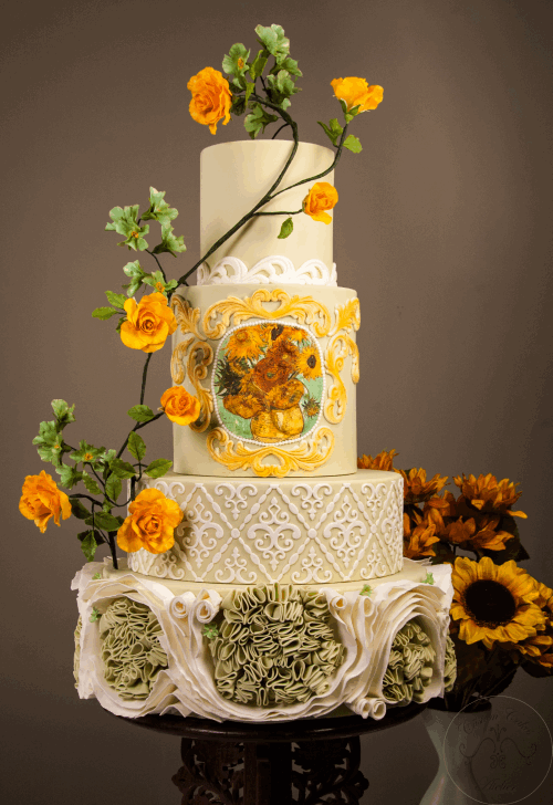 Van Gogh Inspired Autumn Cake Tutorial - finished cake